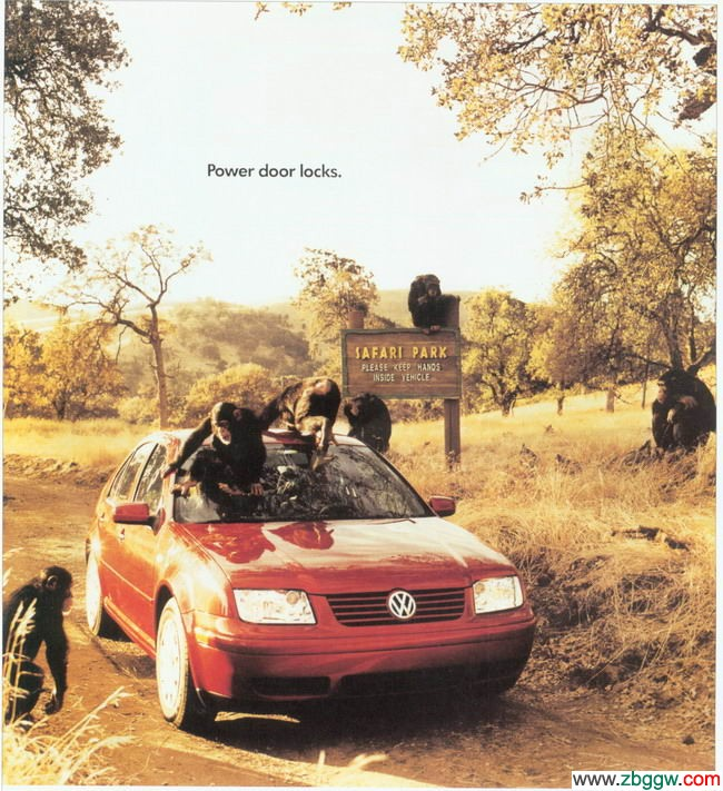 一群的猴子正试图打开大众汽车的门窗,车旁立有一个提示牌:please